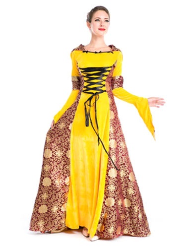 Women's Vintage Costume Halloween Medieval Royal Yellow Masquerade Dress фото