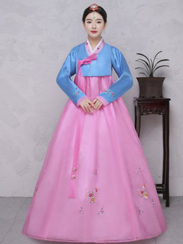 Halloween Korean Costume Chiffon Women' Traditional Floral Printed Hanbok A Line Maxi Dress Costume, Pink;light sky blue;mint green;soft pink;lilac;ivory