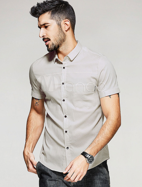 Men's Casual Shirt Cotton Apricot Short Sleeve Turndown Collar Buttons Shaping Casual Top