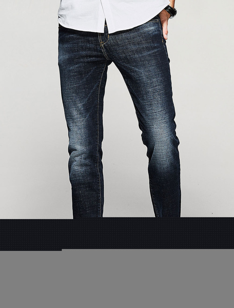Jeans uomo blu monocolore casuale jeans uomo dritti in denim