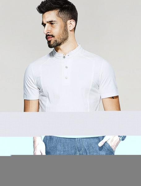 T-shirt da uomo bianca cotone con colletto alla coreana maniche corte bottoni in pelle semplice