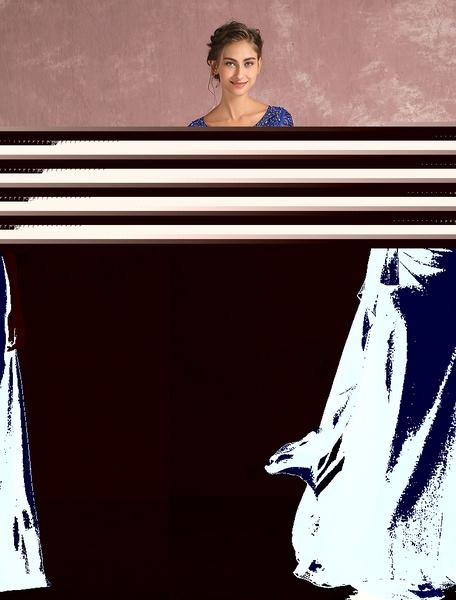 Elegantes Abendkleid aus Chiffon Stretch Satin mit V-Ausschnitt Cutouts und Spitzen und Reißverschlu
