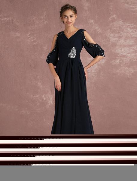 Fabelhaftes Abendkleid aus Chiffon mit V-Ausschnitt Cutouts und Perlen-Applikation Mit Schleppe in D