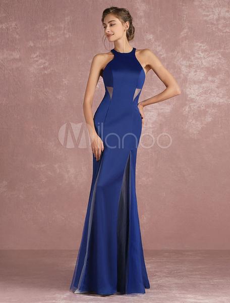 Elegantes Abendkleid aus mit Halter und Schlitz an der Front Cutouts bodenlang in Königsblau