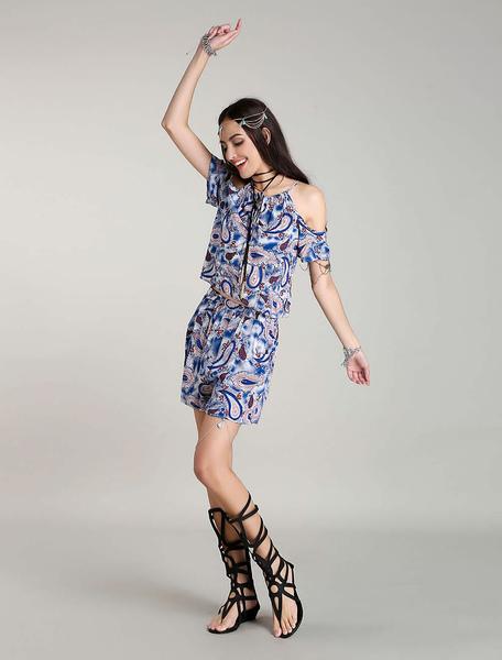 Zwei Stück Outfits Bohemian Off Shoulder Sommer Sets Paisley Boho 2 Stück Outfits