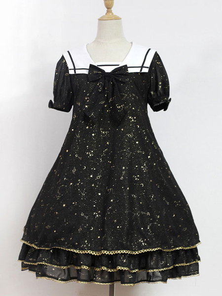 Sweet Lolita Dress Neverland Constellation Kindergarten OP Black Printed Short Sleeve Lolita One Pie фото