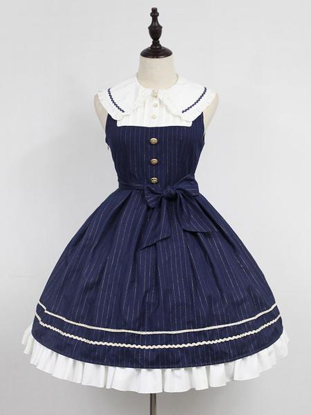Classic Lolita Dress Neverland Morning Star Idol Academy JSK Dark Navy Stripe Lolita Jumper Skirt