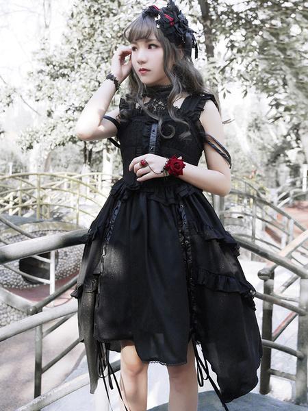 Schönes Lolita Kleid Polyester mit Stehkragen und Rüschen gotisch in Schwarz
