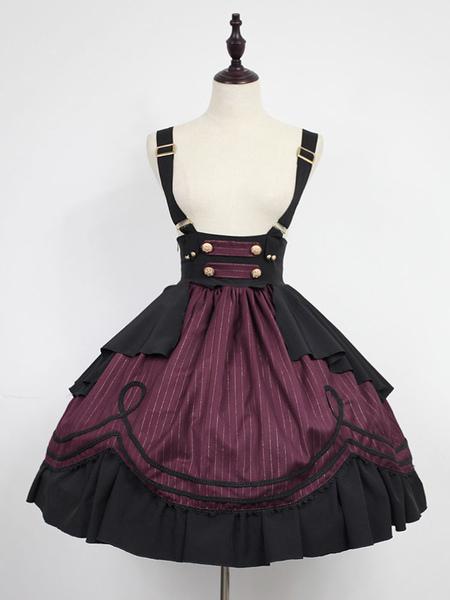 Classic Lolita Dress Neverland Morning Star Idol Academy SK Mahogany Stripe Lolita Skirt