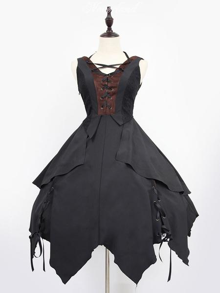 Gothic Lolita Dress Neverland Souls Waltzes JSK Black Irregular Swing Lolita Jumper Skirt Original Design