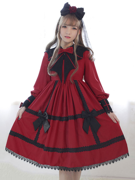 Schickes Lolita Kleid mit Stehkragen und langen Ärmeln gotisch und Rüschen