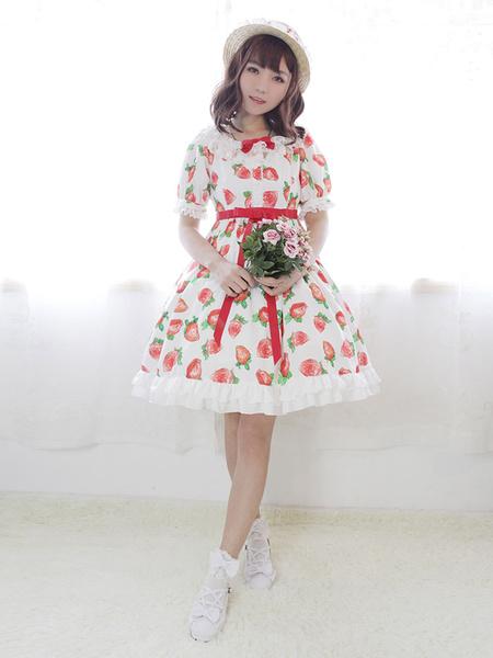 Sweet Lolita Dress Neverland Strawberry Sweetheart OP Printed Lolita One Piece Dress фото