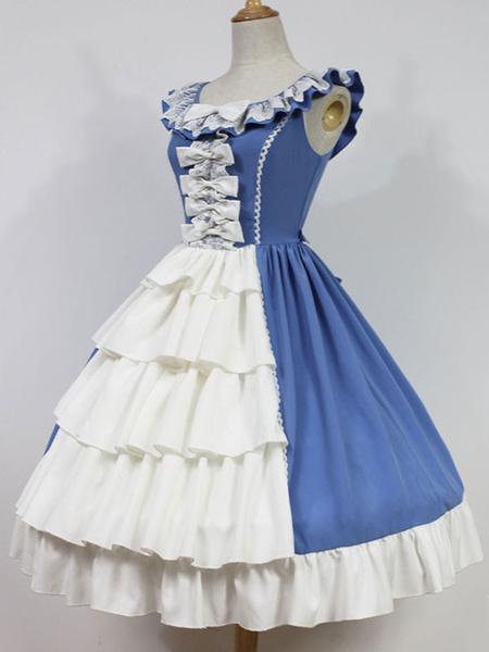 Lolita Abiti con Spalline classico & tradizionali set bicolore smanicato di poliestere