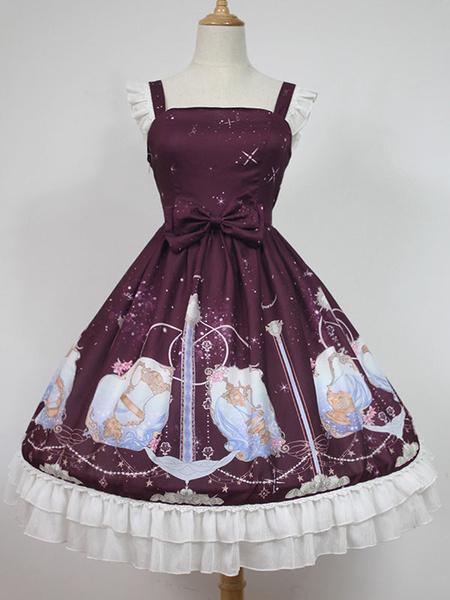 Sweet Lolita Dress Starry Sky JSK Neverland Bow Ruffles Pleated Dark Red Lolita Jumper Skirt фото