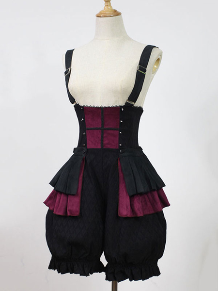 Gothic Lolita Bloomers Night Psalm Neverland Ruffles Lolita Suspender Shorts