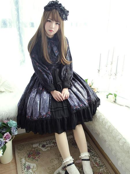 Schickes Lolita Kleid mit Stehkragen und langen Ärmeln im klassischen & traditionellen Style und Rüs