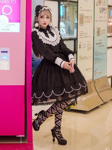 Gothic Lolita Op Pure Black Requiem Lolita One Piece Dress фото