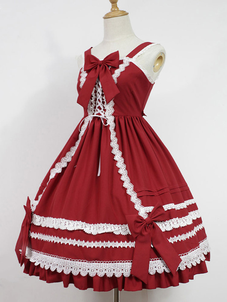 Sweet Lolita Jsk Skirt Jumper Bambole Antiche Kawaii Jsk alta vita