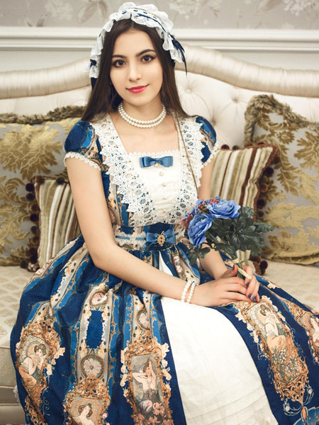 Classic Lolita OP One Piece Dress Neverland Square Neck Cap Sleeve Lace Trim Bows Printed Royal Blue