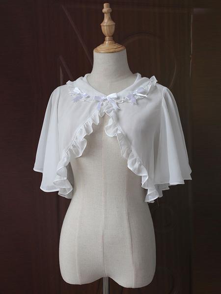 Classic Lolita Cape Coat Neverland Round Neck Ruffles Bows White Lolita Top