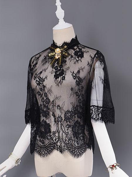 Camicetta Lolita classico nera di pizzo mezze maniche con colletto alla coreana con decori in metall