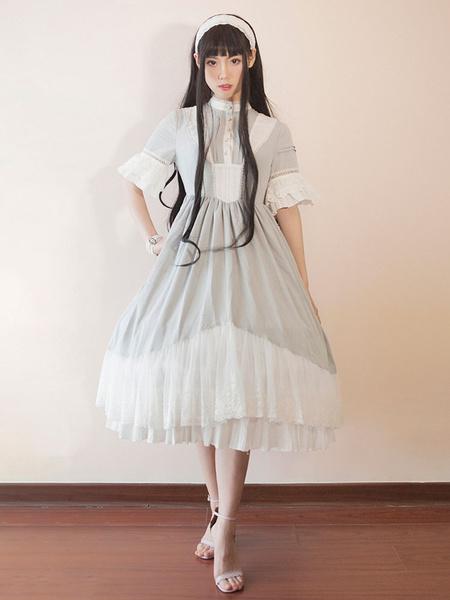Süßes Lolita Kleid mit Stehkragen und halben Ärmenln im klassischen & traditionellen Style und Rüsch