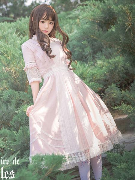 Hübsches Lolita Kleid mit Stehkragen und halben Ärmenln im klassischen & traditionellen Style und Rü