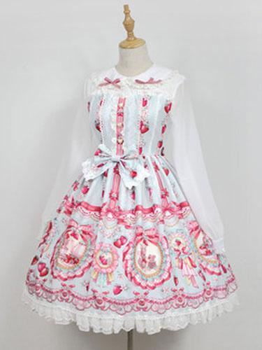 Sweet Lolita OP One Piece Dress Neverland Turndown Collar Long Sleeve Bunny White Lolita Dress фото