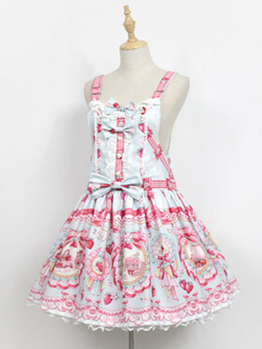Sweet Lolita JSK Jumer Skirt Neverland Square Neck Ruffles Bunny White Lolita Dress фото