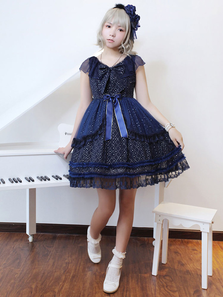 Gothic Lolita OP One Piece Dress Neverland Chiffon Lace Trim V Neck Ribbons Dark Navy Lolita Dress фото