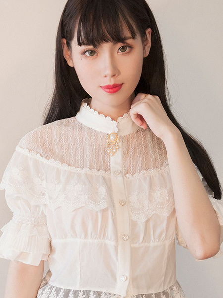 Classic Lolita Blouses Neverland Stand Collar Puff Sleeve Frills White Lolita Top фото