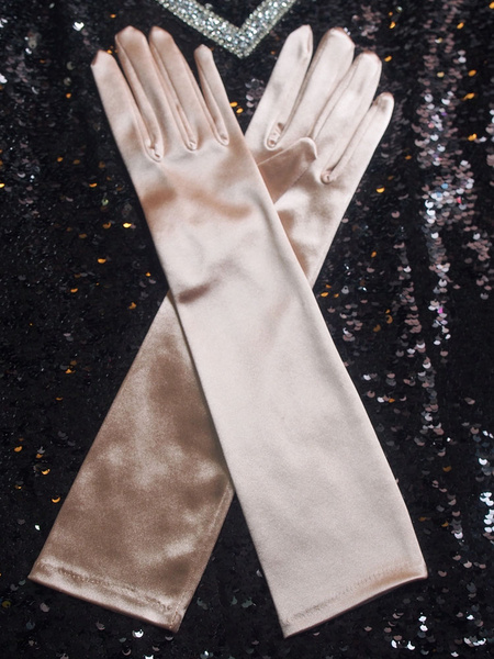 Vintage Flapper Gloves Elbow Length Nude Velour Movie 1920s Costume Accessory For Women фото