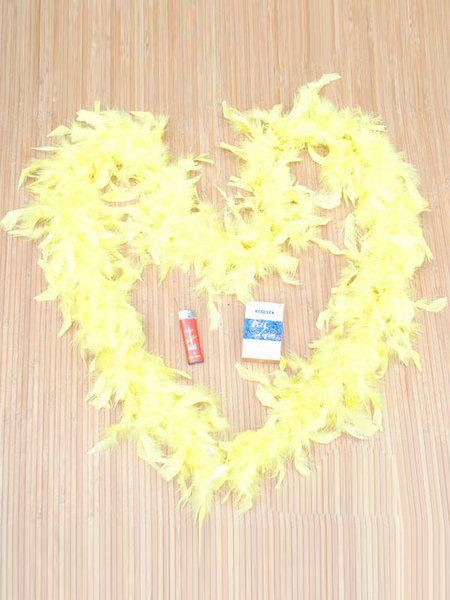 1920s Flapper Feather Yellow Tippet Movie Vintage Costume Accessory For Women
