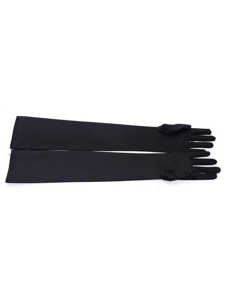 1920s Flapper Gloves Black Viscose Movie Vintage Costume Accessory For Women