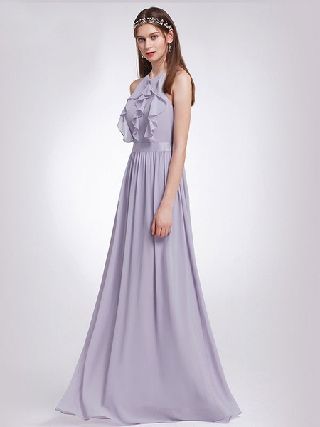 Long Bridesmaid Dress Halter Ruffles Lilac Ruffles Chiffon Backless Floor Length Wedding Party Dresses