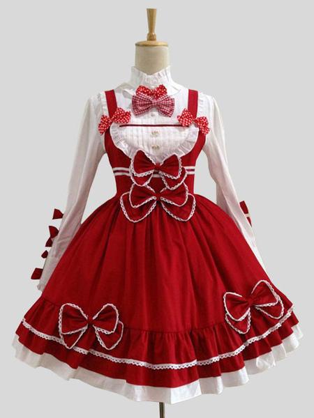 Image of Attrezzatura Lolita dolce rossa Cotone misto maniche lunghe top abito senza maniche