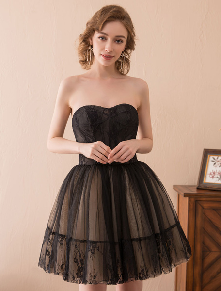 Image of Black Prom Dress Short Strapless Homecoming Dresses Ball Gown Mini Formal Party Dresses