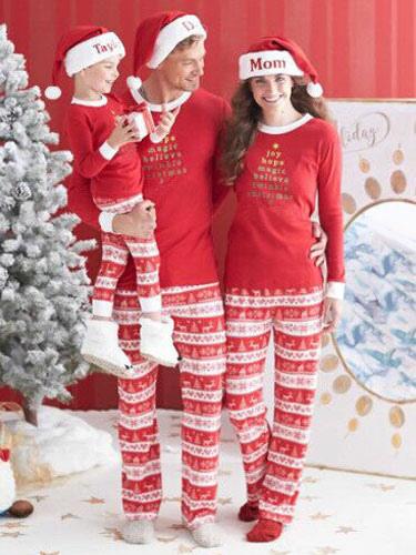 Children's Family Christmas Pajamas Kids Red Top With Pants Unisex Morning Pajamas