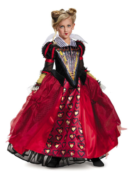 Image of Alice In Wonderland Costume Girls The Queen Of Hearts Ruby Dress Halloween