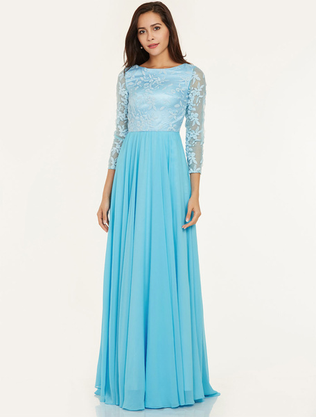 Prom Dresses Long Aqua Chiffon Lace Long Sleeve Jewel Neck Floor Length Wedding Guest Dress