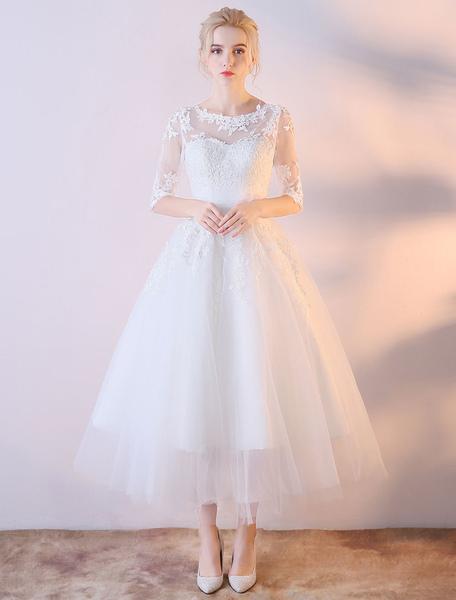 Short Wedding Dresses White Half Sleeve Lace Applique Tea Length Bridal Dress