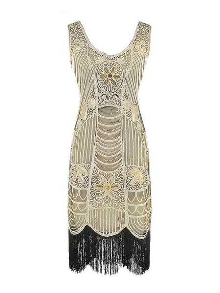 Image of 1920s Costume Flapper Dress Great Gatsby Gold Tassels Vintage Charleston Dress Halloween