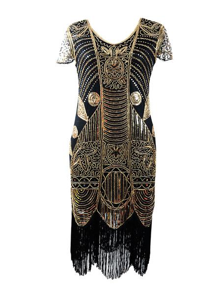Image of 1920s Costume Flapper Dress Great Gatsby Vintage Short Sleeve Gold Tassels Charleston Dress Halloween