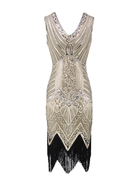 Image of 1920s Costume Flapper Dress Great Gatsby Gold Shiny Tassels Vintage Charleston Dress Halloween