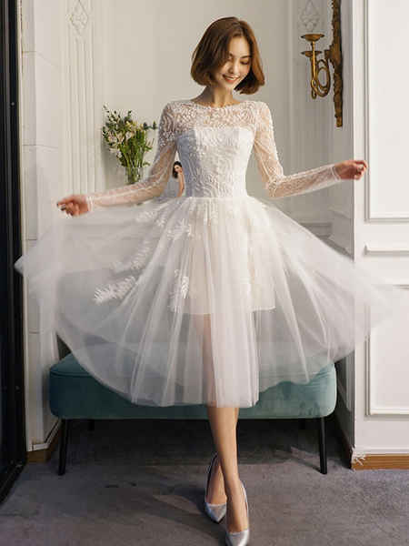 Short Wedding Dresses White Lace Long Sleeve Illusion Tea Length Bridal Dress