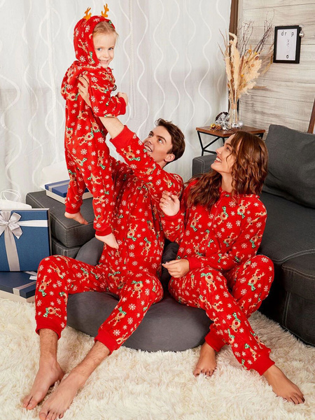 Children's Pajamas Family Matching Christmas Kids Red Printed Jumpsuits
