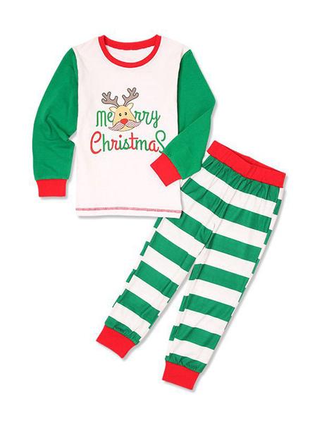 Children's Pajamas Family Christmas Kids Green Striped