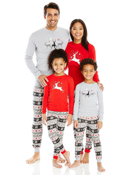 Men's Family Christmas Pajamas Father Printed Top And Pants 2 Piece Set