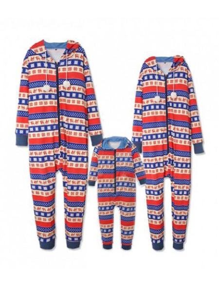 Family Christmas Pajamas Matching Mother Red Long Sleeve Jumpsuits For Women
