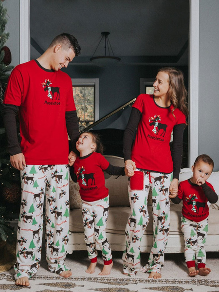 Men's Christmas Pajamas Family Father Red Printed Top And Pants 2 Piece Set